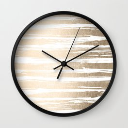 White Gold Sands Painted Stripes Wall Clock