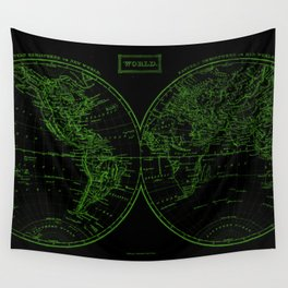 Vintage Map of The World (1857) Black & Green Wall Tapestry