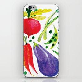 Veg Out - Vegetable, Veggies, Watercolor, Food, Beet, Carrot, Pea iPhone Skin