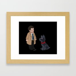 Castiel and Hell Hound (Black) Framed Art Print