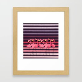 FUN STRIPES WITH FLAMINGOS Framed Art Print