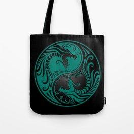 Teal Blue and Black Yin Yang Dragons Tote Bag