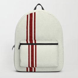 Vintage Country French Grainsack Red Stripes Creme Background Backpack