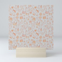 Orange Watercolor Cat Pattern Mini Art Print