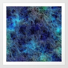 Colorful Cool Rich Jewel Tones Blue Abstract Art Print