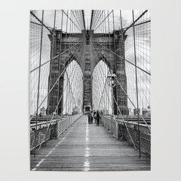 Brooklyn Bridge, New York City (rustic black & white) Poster