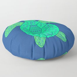 Sea Turtle - Blue and Green Floor Pillow