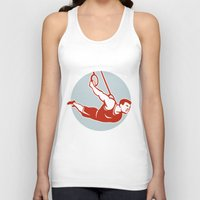 crossfit Tank Tops featuring Crossfit  Athlete muscle-up Ring Retro by patrimonio