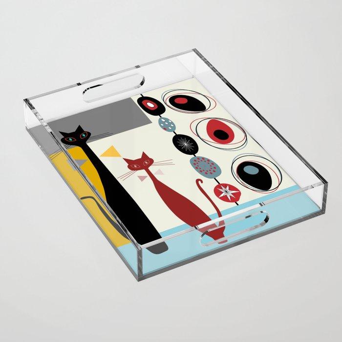 Mid-Century Modern Art Cats Acrylic Tray