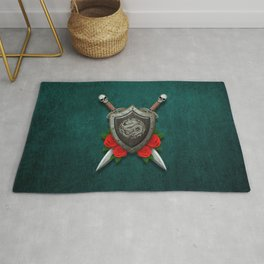 Shield with Chinese Dragon, Roses and Crossed Swords on Blue Rug