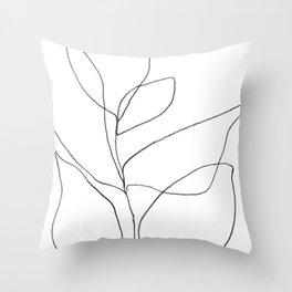 Minimalist Line Art Plant Drawing Throw Pillow