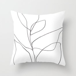 Minimalist Line Art Plant Drawing Throw Pillow