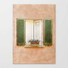 Peach and Green Window in Venice Canvas Print