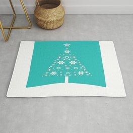 Christmas Tree Made Of Snowflakes On Jade Background Rug