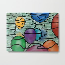Stain Glass Balloons Over Water Metal Print