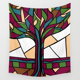 Stained Glass Tree Design - Burgundy Wall Tapestry