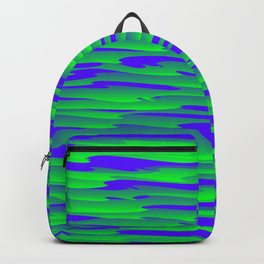 Running luxury green scribble of art waves and violet highlights. Backpack