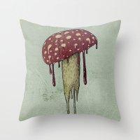 mushroom Throw Pillows featuring Mushroom by Lime