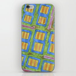 Pastel Colored Striped Squares Pattern  iPhone Skin