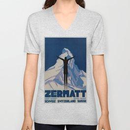 Vintage Zermatt Switzerland Travel Unisex V-Neck