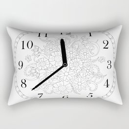 floral clock in black&white Rectangular Pillow