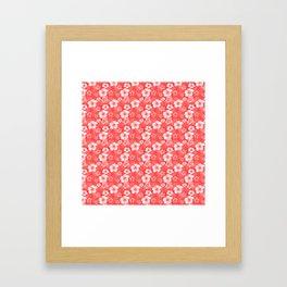 Red Hibiscus Honu Hawaiian Pattern Framed Art Print