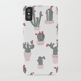 Love in the Desert Cacti Pattern iPhone Case
