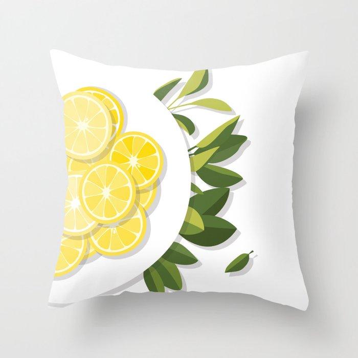 Citrus Plate Throw Pillow