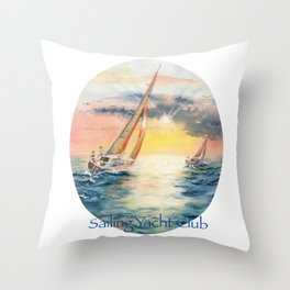 Sailing Yacht Club Throw Pillow