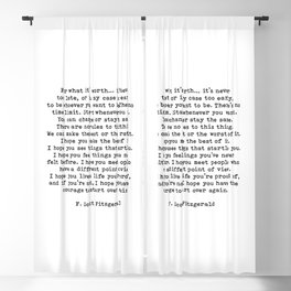 Life quote, For what it's worth, F. Scott Fitzgerald Quote Blackout Curtain