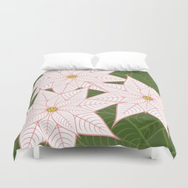 White and Pink Poinsettias, Christmas Holiday Flowers Duvet Cover
