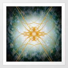 Gold filligree in space Art Print