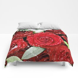 Bouquet of red roses in the rain I Comforters