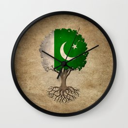Vintage Tree of Life with Flag of Pakistan Wall Clock