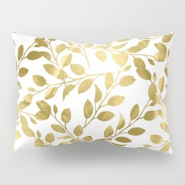 Gold Leaves on White Pillow Sham