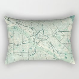 Dallas Map Blue Vintage Rectangular Pillow