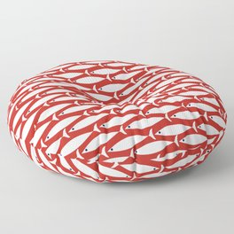 Mid Century Modern Fish Pattern in Red, White, and Nautical Navy Blue Floor Pillow