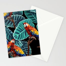tropical leaves macaw pattern 2 Stationery Cards