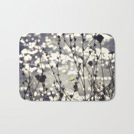 Sparkling Bokeh Tiny Butterfly Neutral Flowers Silhouette Beach Landscape Bath Mat