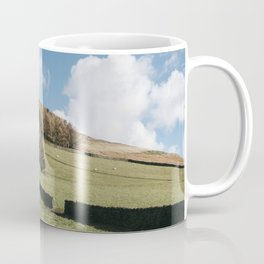 Grazing sheep and trees on a hillside. Edale, Derbyshire, UK. Coffee Mug