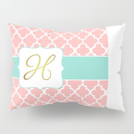 """Coral Moroccan Print with """"H"""" Monogram Pillow Sham"""