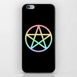 Rainbow Pentacle on Black iPhone Skin