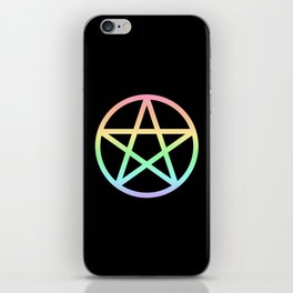 Rainbow Pentacle on Black iPhone Skin
