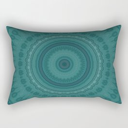 Dark Teal Pattern Mandala Rectangular Pillow
