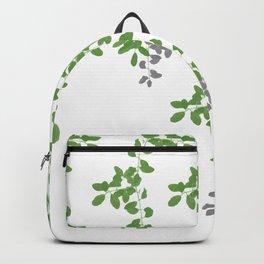 Green Leaves pattern. green white. grey. leaves. Backpack