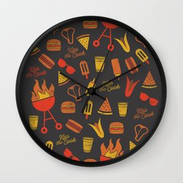 Kiss the Cook - Dark Palette Wall Clock