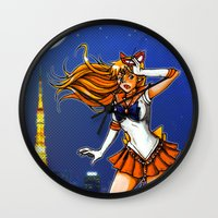sailor venus Wall Clocks featuring Sailor Venus by Nelson Rodrigues