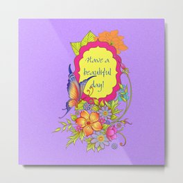 Spring Flowers and Butterfly Posy Metal Print