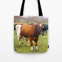 cows Tote Bags featuring Cows by AstridJN