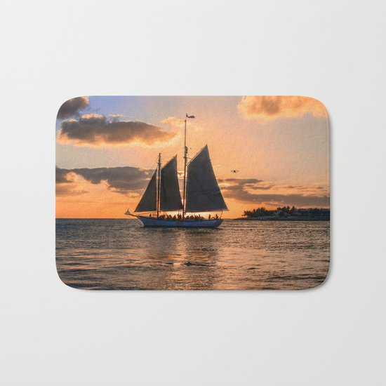 Sunset Sail and Plane Bath Mat